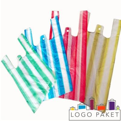Готовые Пакеты-майка Цветная полоса 4 цвета