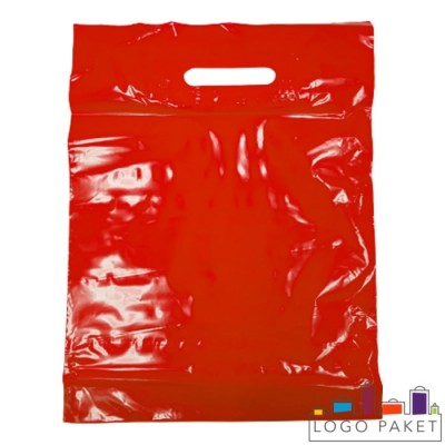 Готовый ПВД пакет красный с вырубными ручками