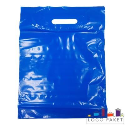 Готовый ПВД пакет синий с вырубными ручками