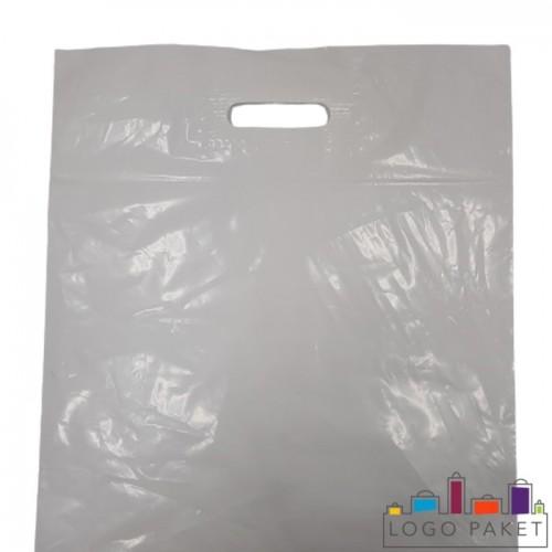 Готовый ПВД пакет белый с вырубными ручками