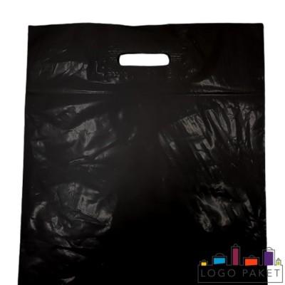 Готовый ПВД пакет черный с вырубными ручками