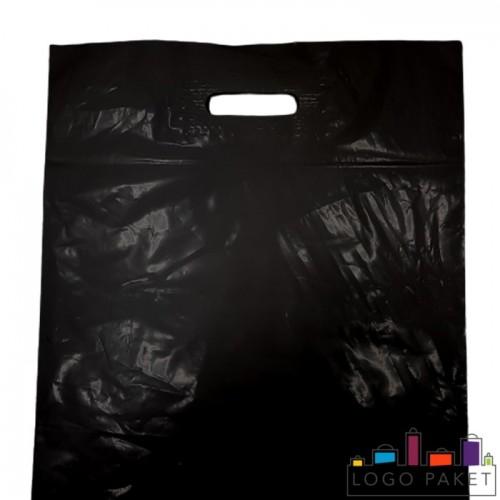 Готовые ПВД пакеты черные с вырубными ручками