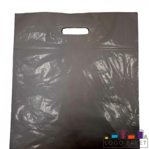 Готовый ПВД пакет с вырубными ручками цвет серебро