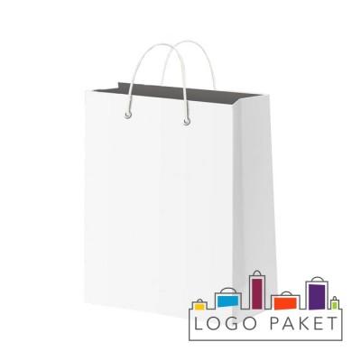 Готовый ПНД пакет белый плотный с люверсами серебро