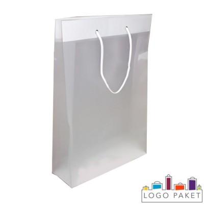 Готовый ПНД пакет полупрозрачный плотный с люверсами серебро