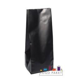 Пакет металлизированный черный с центральным швом  60+30х180
