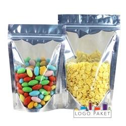 Пакет дой пак металлизированный с прозрачной стороной и с замком зип-лок