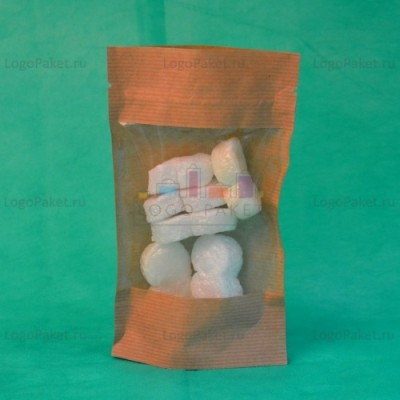 Бумажные Дой-пак крафт пакеты с прозрачным окном и замком зип-лок