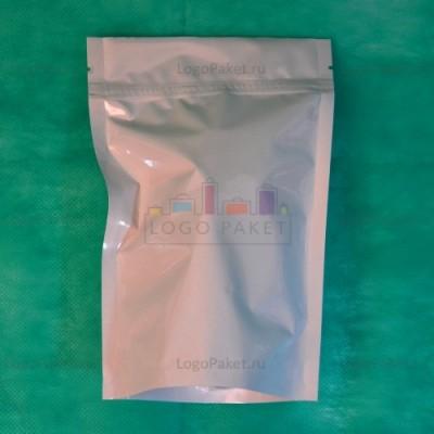 Пакеты дой-пак белые с замком зип-лок металлизированные