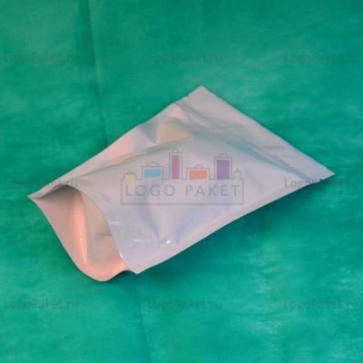 Матовые пакеты дой-пак белые с замком зип-лок металлизированные