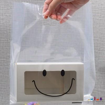 Пакет ПНД прозрачный с вырубными неукрепленными ручками и донной складкой с коробкой