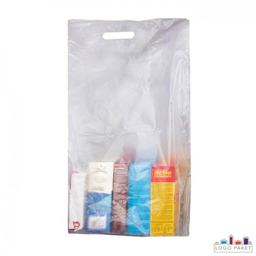 Пакет ПНД прозрачный с вырубными укрепленными ручками и донной складкой