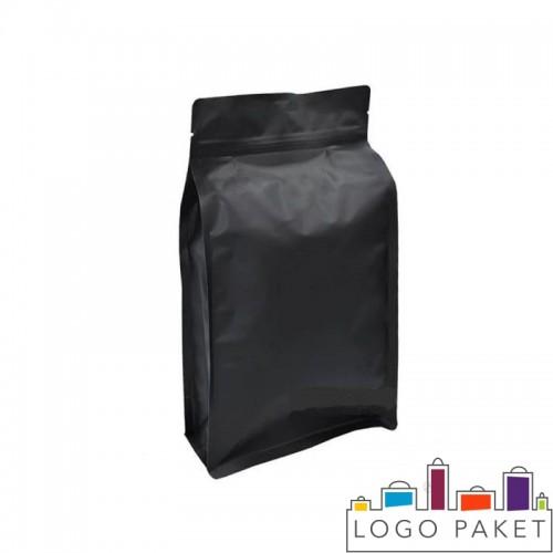 Пакет восьмишовный черный матовый с плоским дном и замком зип-лок