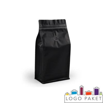 Пакет восьмишовный черный с плоским дном и замком зип-лок
