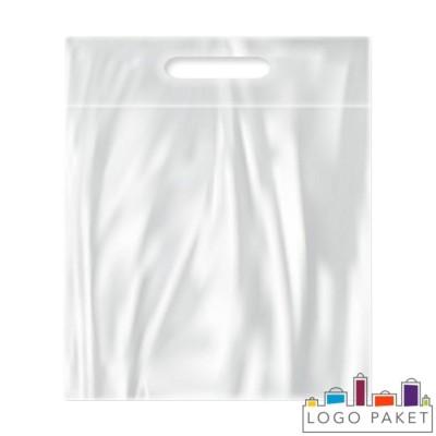 Пакет с замком зип-лок и вырубной ручкой для упаковки одежды белый