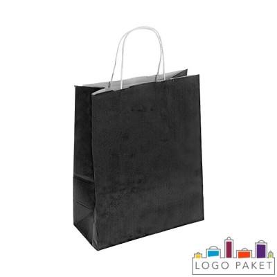 Крафтовый пакет черный с крученой ручкой
