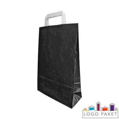 Крафтовый пакет черный с плоскими ручками