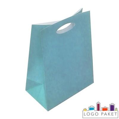 Крафтовые пакеты голубые с вырубными ручками