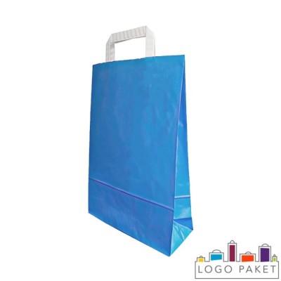 Крафтовые пакеты голубые с плоскими ручками