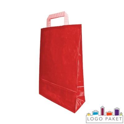 Крафтовые пакеты красные с плоскими ручками