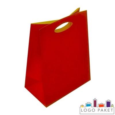 Крафтовые пакеты красные с вырубными ручками