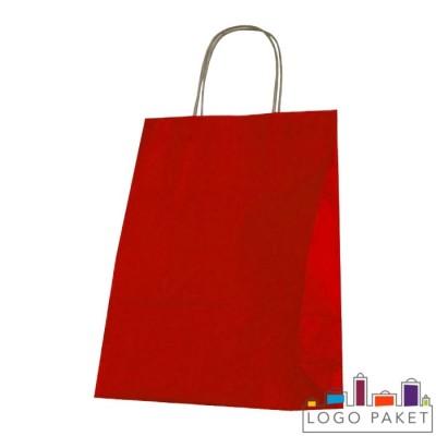 Крафтовые пакеты красные с кручеными ручками