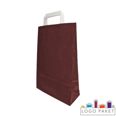 Крафтовые пакеты шоколад с плоскими ручками