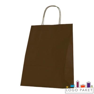 Крафтовые пакеты шоколад с кручеными ручками