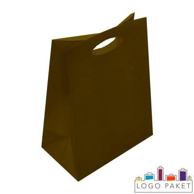 Крафтовые пакеты шоколад с вырубными ручками
