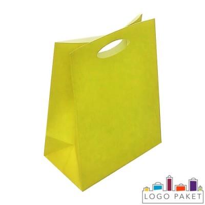 Крафтовые пакеты желтые с вырубными ручками