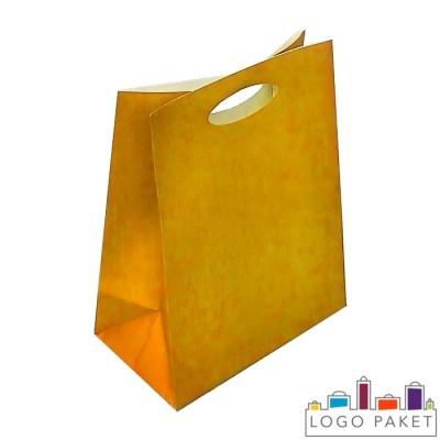 Крафтовые пакеты оранжевые с вырубными ручками