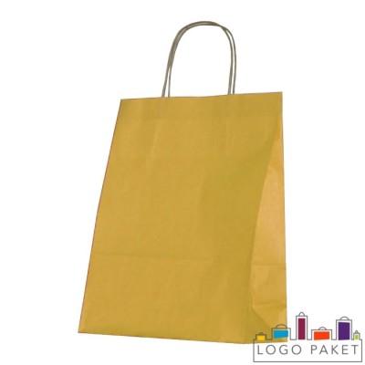 Крафтовые пакеты оранжевые с кручеными ручками