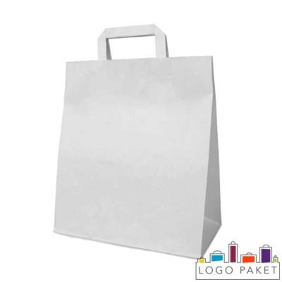 Белый крафт пакет 24х14х29 см с плоскими ручками