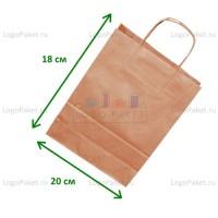 Крафт пакет 20х18х8 СМ с кручеными ручками и донной складкой заказать в интернет-магазине