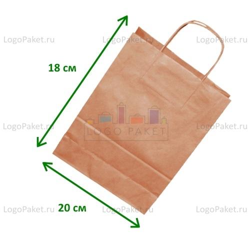 Крафт пакет 20х18х8 СМ с кручеными ручками и донной складкой