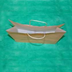 Бежевый крафт пакет 24х25х11 с кручеными ручками