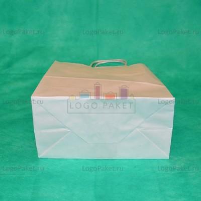 Белый крафт пакет 25х18х8 с кручеными ручками