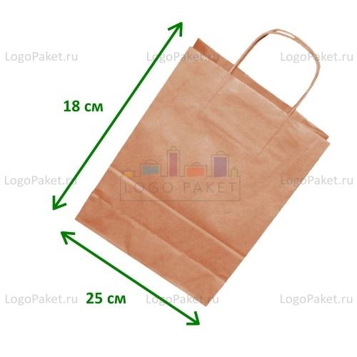 Крафт пакет 25х18х8 с кручеными ручками и донной складкой