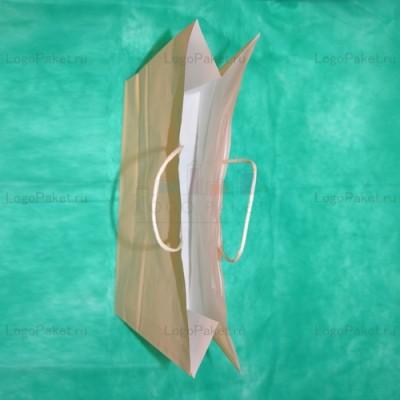 Бежевый крафт пакет 28х32х13 с кручеными ручками