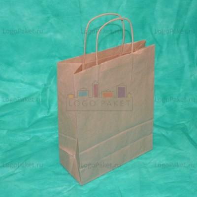 Крафт пакет 29х25х11 с кручеными ручками и донной складкой