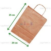 Крафт пакет 29х25х11 с кручеными ручками и донной складкой заказать в интернет-магазине