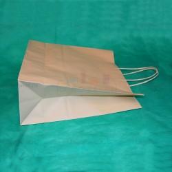 Бежевый крафт пакет 31х36х12 с кручеными ручками