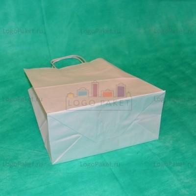 Белый крафт пакет 32х24х11 с кручеными ручками