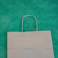 Белый крафт пакет 32х39х13 с кручёными ручками