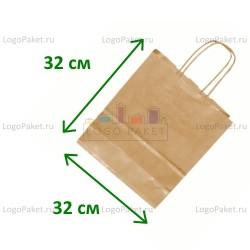 Крафт пакет 32х32х17 с тиснением под вельвет