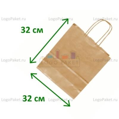 Крафт пакет с тиснением под вельвет 32х32х18