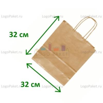 Крафт пакет с тиснением под вельвет 32х32х19