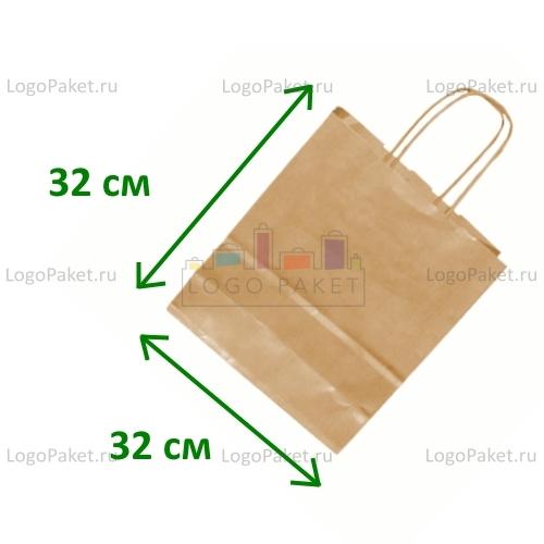 Крафт пакет 32х32х19 с тиснением под вельвет