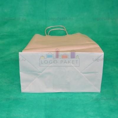 Белый крафт пакет 32х42х13 с кручеными ручками