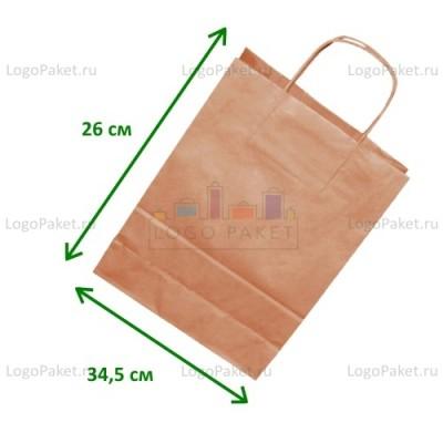 Крафт пакет с кручеными ручками бежевый 34,5х26х11
